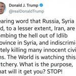 ترامپ: ایران و روسیه بمباران ادلب را متوقف کنند