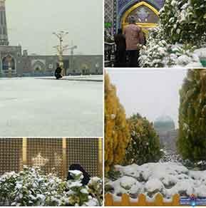 بارش برف پاییزی در حرم امام رضا(ع)