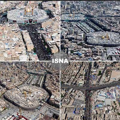 تصاویر هوایی از کربلا دو روز مانده تا اربعین