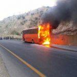 اتوبوس دانشجویان دختر در تفت آتش گرفت