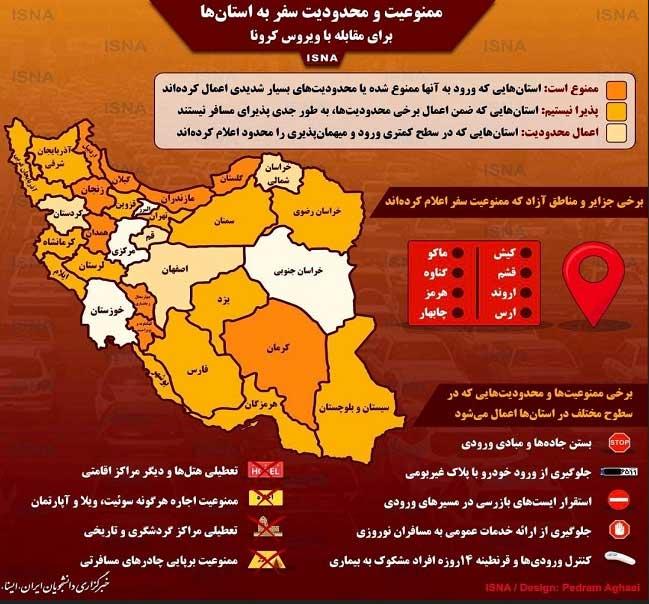 اینفوگرافی؛ محدودیتهای سفر به سراسر ایران!